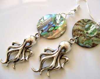 Iridescent Paua Abalone Shell with Silver tone Octopus Sea Creature Charm and Swarovski Lt. Green Crystal Long Dangle Earrings Beach Theme