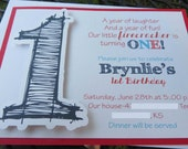 Americana Themed Embellished Birthday Invitation - You choose the colors
