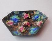 6 sided multi colored Enamel Dish Mid Century Copper