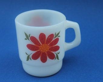 Vintage Milk Glass Mug Mod Flowers Fire King Anchor Hocking USA Flower Power