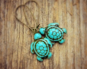 Turtle Turquoise Earrings -Turquoise - Turtle Blue, Aqua, Ocean, Sea, Brown, Bronce, Dark, Fall, Animal, Jewelry Earrings, Turquoise Jewelry