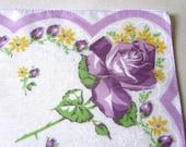 Vintage Handkerchief - Hankie - Hanky -  Cotton Hankerchief - Purple Roses - 1960s - Bridal  Shower Favors - Something Old