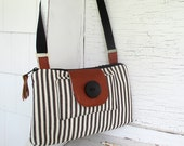 Small Charcoal Gray & Ivory Cross Body Purse/Shoulder Purse/Messenger Style Bag