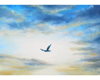 5x7 Greeting Card by Daina Scarola, Item #GC5X7-09 (seagull, bird flying, clouds, blue sky)