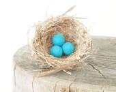 Felt Beads, Turquoise Wool balls, Felted, Blue Aqua Needle Felting Craft Crafting Woodland Nest Bird Spring