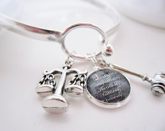 Law and Justice  Sterling Silver bracelet..Free Shipping