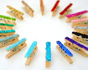 Ultra Mini Glittered Clothespin Set - You Pick Color - Micro Glitter- Christmas Card Display - Holiday Home Decor - Wedding Favors - Party