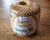 Aunt Lydia's Crochet Thread Metallic, Size 10 - 100 yards - Gold/Gold