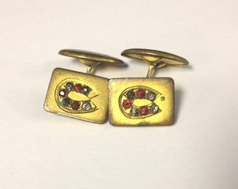 Vintage Art deco mens rhinestone horseshoe cuff links western 20s