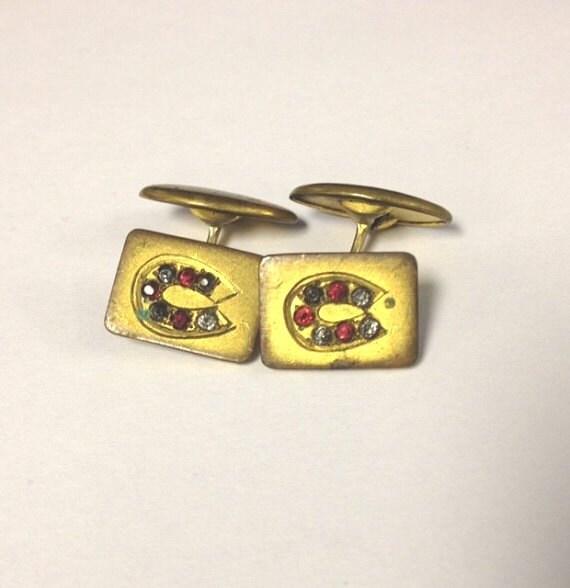 Vintage Art deco mens rhinestone horseshoe cuff links western 20s