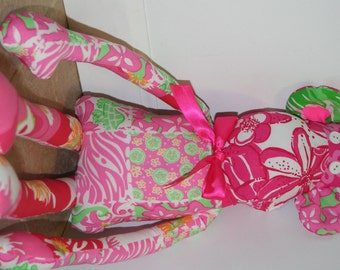 Monkey made with Lilly Pulitzer fabric