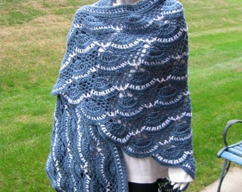 Crochet Shawl, Country Blue and White Scalloped Trim Wrap