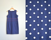 SALE / vintage '90s navy blue & white classic POLKA DOT sleeveless dress. size xl.