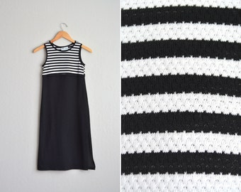 SALE // Size Youth 8 // STRIPED TANK Dress // Black & White - Sleeveless - Knit - Vintage '90s.