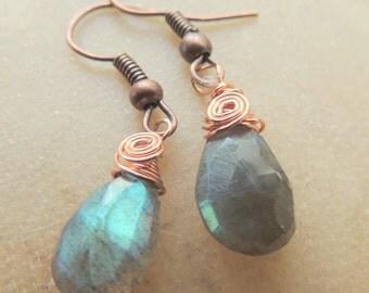 Labradorite and Copper Earrings, Copper Wire Wrap Earrings, Dangle Earrings, Handcrafted Jewelry, Teardrop Earrings, Gemstone Jewelry