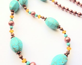 Turquoise and Copper Pearl Necklace, Turquoise Copper Pearl and Amber, Handcrafted Necklace, Statement Necklace Copper and Turquoise