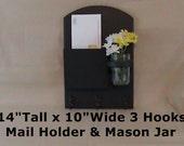Letter Holder - Mail Organizer - Key Holder - Key Hooks - Jar Vase - Painted Wood - Organizer