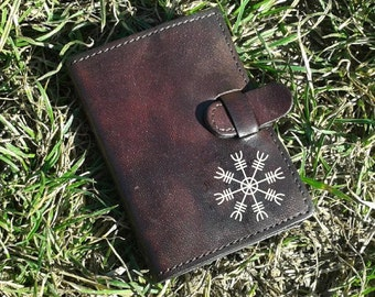 Aegishjalmur Handpainted Leather Credit Card Wallet For 6 Credit Cards - FREE Shipping Worldwide - Viking Helm of awe - Minimalistic Wallet