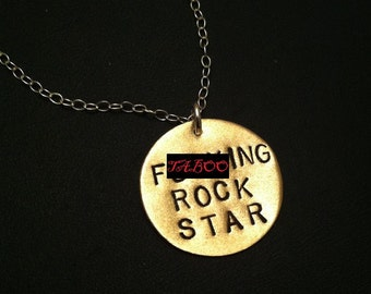 Rock Star, Gifts for Musicians, Brass Disc Necklace, Women's Men's Necklace, Father's Day, Gifts for Dad, Mature, Boyfriend, Fucking, Unisex