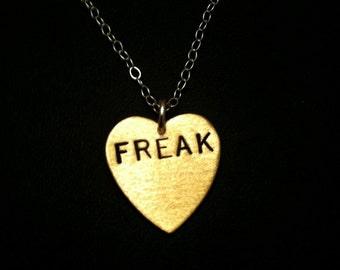 Freak Show, Misfit, Weirdo, Freakshow, Handmade, Geek, Heart Necklace, Stamped Brass Heart, Circus Act, Ringleader, Heart Charm Necklace,
