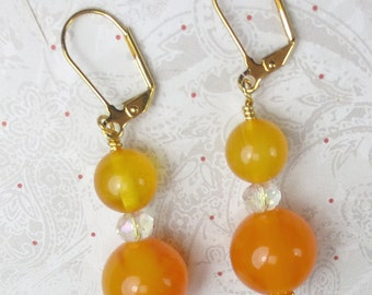 Candy Corn earrings Yellow glass with large orange agate clear crystal rondel dangle earrings - halloween earrings - yellow orange earrings