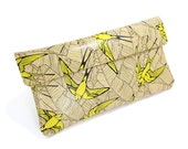 Leather Clutch bag, Leather Purse, Evening Bag, Shoulder Bag - Yellow Swallows and Leaf