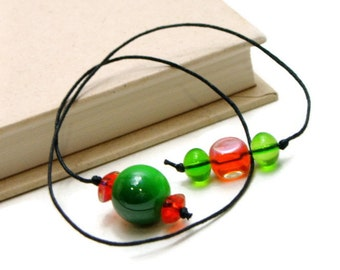 Book Thong Beaded Bookmark, Green, Orange, Book Cord, Book String, Gift under 5, TJBdesigns, Teacher Gift, Gift for Student