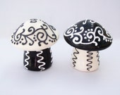 Mushroom Salt and Pepper Shakers -  Black and White Fancy
