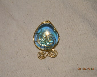 Wire Wrapped Blue Glass Double Spiral Pendant