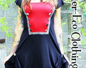 SALE - Military SteamPunk DRESS - Red Black - Organic Ruffled cinched layered Eco - One of a Kind ooak