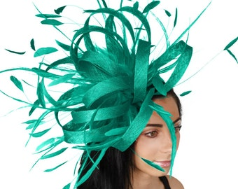 Jade Green Ostrich Fascinator Hat for Kentucky Derby, Weddings and Parties With Headband (in 40 colours)