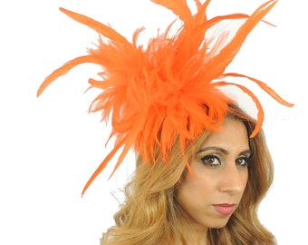 Unstripped Orange Fascinator Hat for Weddings, Races, and Special Events With Headband