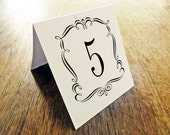 Printable Table Number - Table Number Template - Instant Download - Wedding Table Number PDF - Vintage Black Border - Vintage Black Frame