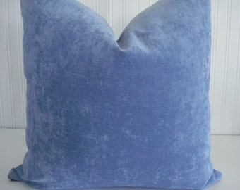 ANTIQUE VELVET-Both Sides-Decorative  Designer Pillow Cover--Periwinkle Blue  Throw/Toss/Lumbar Pillow