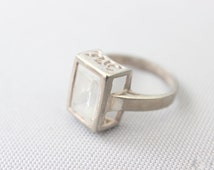 Square Cut Faux Diamond Ring / Vintage Sterling Silver Ring / Jewelry