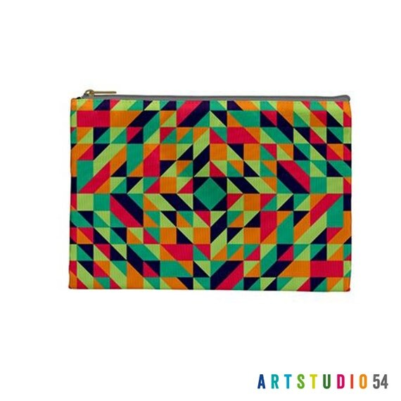 "Geometric Pattern - Orange, Green, Blue on a Pouch, Make Up, Cosmetic Case Travel Bag Pencil Case - 9"" X 6"" -  Large -  Made by artstudio54"