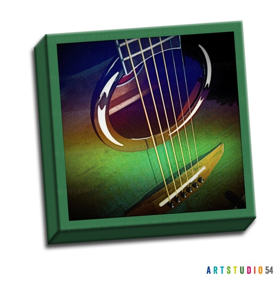 "Guitar Strings - Green Brown -  6""x6"" to 36""x36"" - 1.25"" Deep - Gallery Wrapped Canvas - artstudio54"