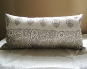 Taupe or Indigo Paisley Stripe on natural mixed gray hand printed linen home decor pillow case 12x24