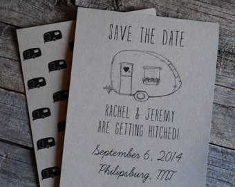 Retro Wedding Save the Date - 3 Styles Available-  Party Invitation - RV Camper - VW Bug - Volkswagon - Vintage Trailer - Hipster
