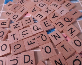 Lot 50 wood Scrabble Tiles for Jewelry Altered Art