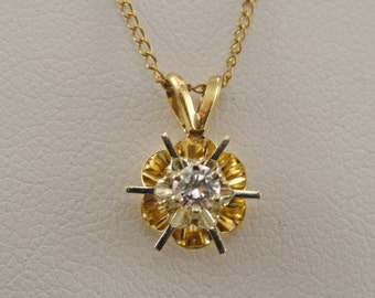 A Vintage Diamond Solitaire Pendant Set in 14K Buttercup Style Setting with Chain (A1549)