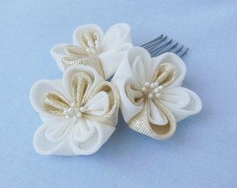 White Gold Blossom, Hair Accessory, Bridal, Bride, Hair Comb, Metallic, Japanese Tsumami Kanzashi Silk Flowers Wedding Bridal