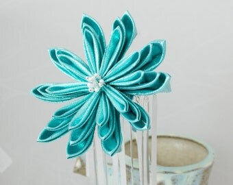 Large Iridescent Teal Delight Tsumami Kanzashi Flower Hair Stick Pin