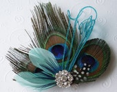 Peacock Feather Hair Clip WEDDING FASCINATOR bridal accessory Turquoise Aqua facinator bride hair piece