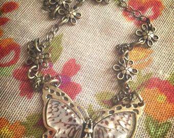 Butterfly necklace, butterfly jewelry, vintage inspired jewelry, necklace