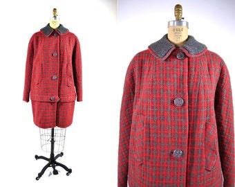 1960s tweed coat | red tweed dropwaist plaid Dannybrook coat | vintage 60s coat