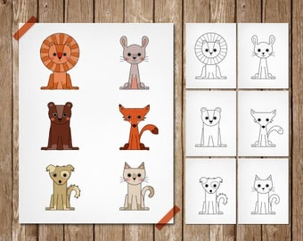 PDF printable - Six cute animals to color lion bear cat dog rabbit fox seven pages