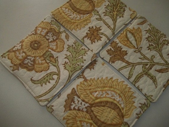 Fabric Coasters Set of 4 Jacobean Floral Quilted
