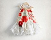 Baby Girl's Red and White Dress Rose Flowers White Lace Tattered Clothing Shabby Chic Christmas Dress Children Clothes 18 Months 'WILLOW'