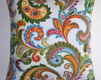 Summer SALE - Throw Pillow Cover, Festive Handmade Colorful Paisley Accent Pillow Cover, Decorative Green Paisley Cushion Cover - LAST ONE